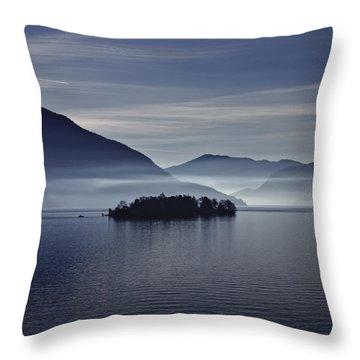 Island In Morning Mist Throw Pillow