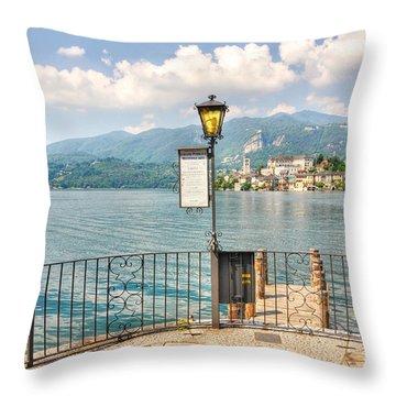 Island San Giulio On Lake Orta Throw Pillow