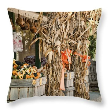 Isoms Orchard In Fall Regalia Throw Pillow by Kathy Clark