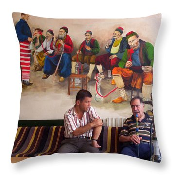 Throw Pillow featuring the photograph Istanbul Smokers by Lou Ann Bagnall