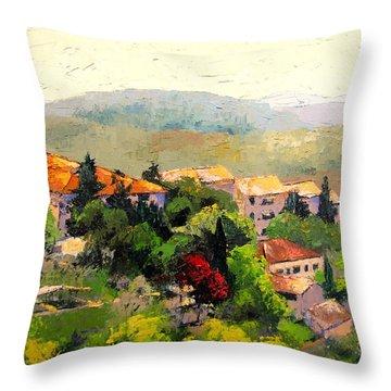 Italian Hillside Village Oil Painting Throw Pillow