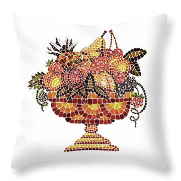 Italian Mosaic Vase With Fruits Throw Pillow by Irina Sztukowski