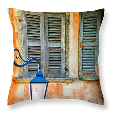 Italian Street Lamp With Window And Decorated Wall Throw Pillow