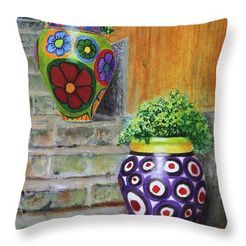 Throw Pillow featuring the painting Italian Vases by Karen Fleschler