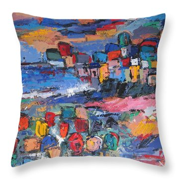Italy With Flowers Throw Pillow
