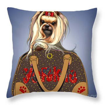 It's A Yorkie In A Bag  Throw Pillow