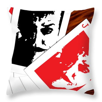 Jack Nicholson - The Joker's Crooked Card Game Throw Pillow by Saad Hasnain