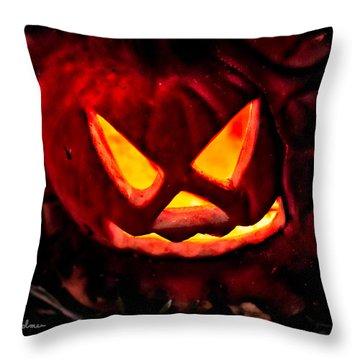 Jack-o-lantern Throw Pillow by Christopher Holmes