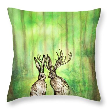Into The Woods Throw Pillow by Carrie Jackson