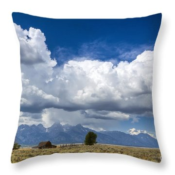 Jackson Hole Barn And Clouds Throw Pillow