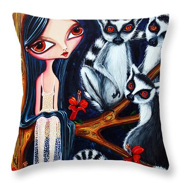Throw Pillow featuring the painting Jane And The Lemurs by Leanne Wilkes