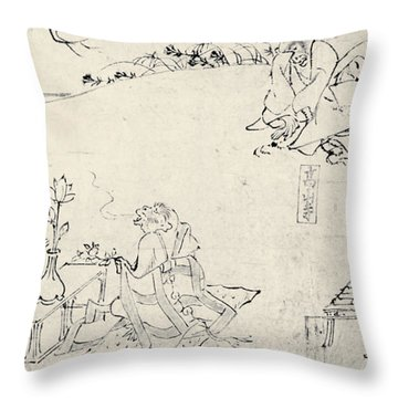 Japan: Animals As Humans Throw Pillow by Granger
