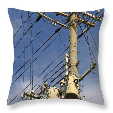 Japan Power Utility Pole Throw Pillow by Daniel Hagerman