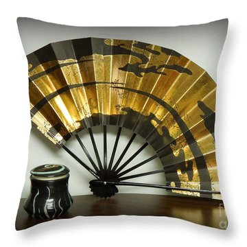 Japanese Fan And Pot Throw Pillow by Renee Trenholm