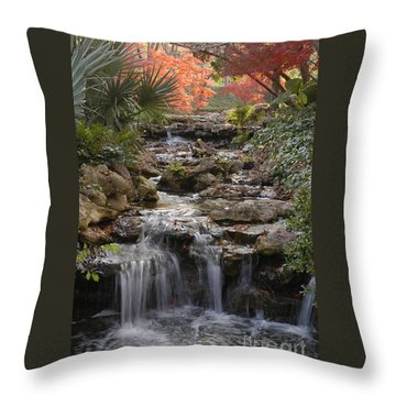 Waterfall In The Japanese Gardens, Ft. Worth, Texas Throw Pillow