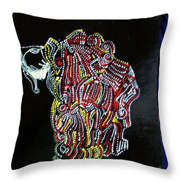 Throw Pillow featuring the painting Japanese Opera - Noh by Gloria Ssali