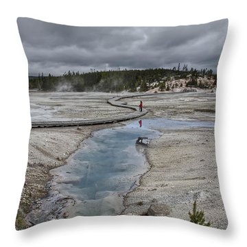 Japanese Woman With Umbrella At Norris Geyser Basin Throw Pillow by Daniel Hagerman
