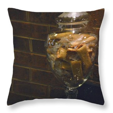 Jar Of Biscotti Throw Pillow by Sandi OReilly