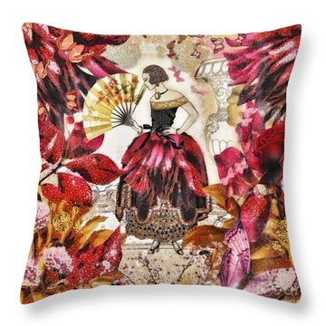 Jardin Des Papillons Throw Pillow by Mo T