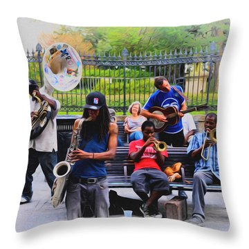 Jazz Band At Jackson Square Throw Pillow by Bill Cannon