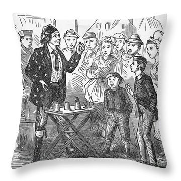 Jean Eugene Robert Houdin (1805-1871). French Magician. Wood Engraving, C1880, From An American Edition Of Houdins Autobiography, Depicting His First Childhood Encounter With A Street Magician Throw Pillow by Granger