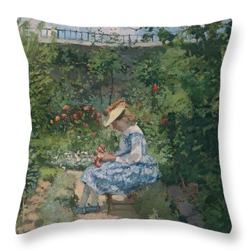 Jeanne In The Garden Throw Pillow by Camille Pissarro