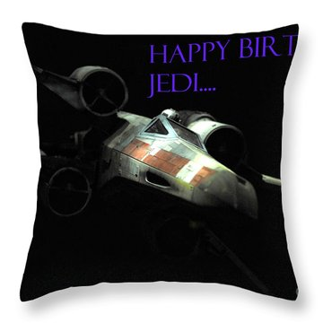 Jedi Birthday Card Throw Pillow by Micah May