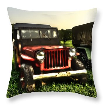 Jeep Seen Better Days Throw Pillow by Dan Friend