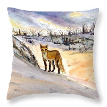 Throw Pillow featuring the painting Jersey Shore Fox by Clara Sue Beym