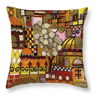 Jerusalem Alleys Tall 5  In Red Yellow Brown Orange Green And White Abstract Skyline Landscape   Throw Pillow