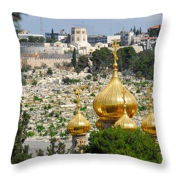 Jerusalem Church Of St Mary Magdalene  Throw Pillow by Eva Kaufman