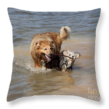 Jesse And Gremlin Sharing Throw Pillow