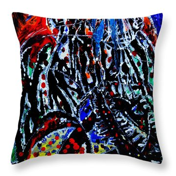 Throw Pillow featuring the painting Jesus Meets Mary On Calvary by Gloria Ssali