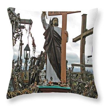 Jesus On The Hill Of Crosses. Lithuania Throw Pillow by Ausra Huntington nee Paulauskaite