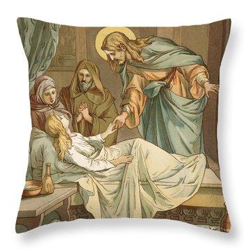 Jesus Raising Jairus's Daughter Throw Pillow by John Lawson