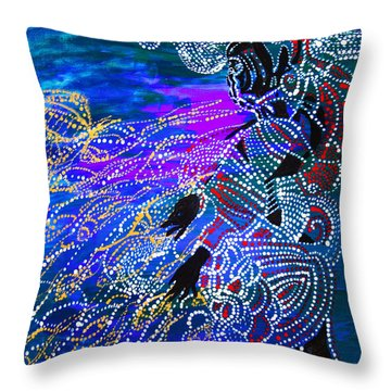Throw Pillow featuring the painting Jesus Reaps His Harvest by Gloria Ssali