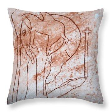 Jesus The Good Shepherd - Tile Throw Pillow by Gloria Ssali