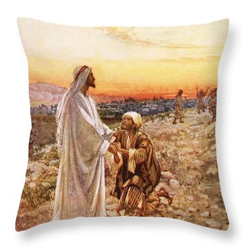 Jesus Withe The One Leper Who Returned To Give Thanks Throw Pillow by William Brassey Hole