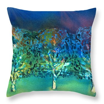 Throw Pillow featuring the mixed media Jeweled Trees by Arline Wagner