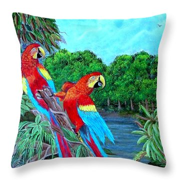 Jewels Of The Amazon Throw Pillow