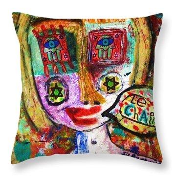 Jewish Angel Throw Pillow by Sandra Silberzweig