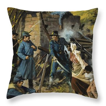 John Brown On 30 August 1856 Intercepting A Body Of Pro-slavery Men Throw Pillow by Andrew Howart