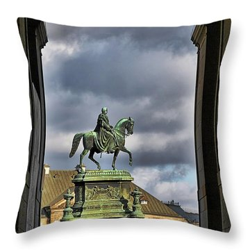 John Of Saxony Monument - Dresden Theatre Square Throw Pillow by Christine Till
