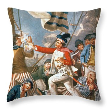 John Paul Jones Shooting A Sailor Who Had Attempted To Strike His Colours In An Engagement Throw Pillow by John Collet