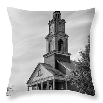 John Wesley Raley Chapel Black And White Throw Pillow by Ricky Barnard