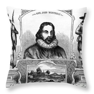 John Winthrop, English Puritan Lawyer Throw Pillow by Photo Researchers