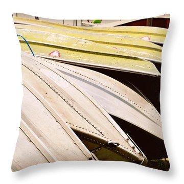 Jon Boats Throw Pillow by Paulette B Wright
