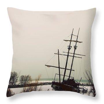 Jordan, Ontario, Canada A Tall Ship Throw Pillow by Pete Stec