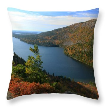 Jordan Pond In Autumn From North Bubble Acadia National Park Throw Pillow by John Burk