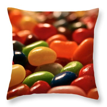 Jubilant Jelly Beans Throw Pillow by Susan Herber